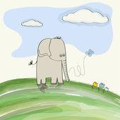 Söt doodle elefant — Stockvektor