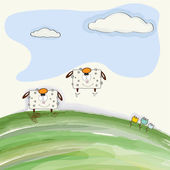 Funny doodle sheep  bounce on meadow — Stock Vector