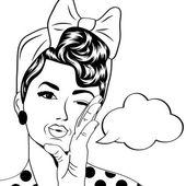 Cute retro woman in comics style — Stock vektor