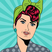 Cute retro woman in comics style — Vetorial Stock
