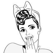 Cute retro kadın çizgi roman tarzı — Stok Vektör