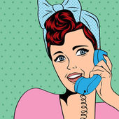 Woman chatting on the phone, pop art illustration — Vector de stock