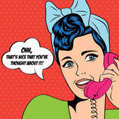 Donna in chat al telefono, illustrazione pop art — Vettoriale Stock
