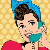Woman chatting on the phone, pop art illustration — Stock Vector