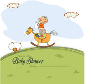 Baby shower card with little boy — Stock Vector