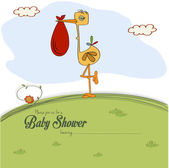 Baby shower card with stork — Stockvector