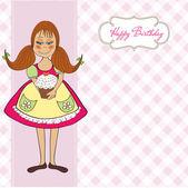 Garota engraçada com bolo de aniversário — Vetor de Stock