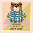 Cool bear hipster, hand draw illustration — Stock Vector #43932635