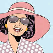 Popart retro woman with sun hat in comics style, summer illustra — Stockvector