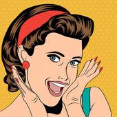 Popart retro vrouw in strips stijl — Stockvector
