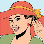Popart retro woman with sun hat in comics style, summer illustra — Stock Vector