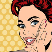 Pop art retro woman in comics style — Stock Vector