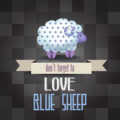 """Poster with sheep and message """" don't forget to love — Stock vektor"""