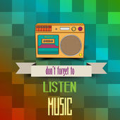 "Poster with retro boom-box and message""don't forget to listen mu — Vector de stock"