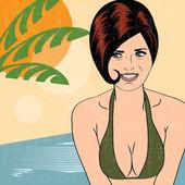 Hot pop art girl on a beach — Stock Vector