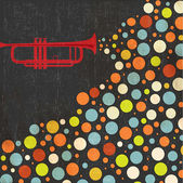 Music background with trumpet and balls — Stockvector