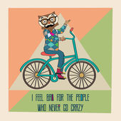 Hipster poster with nerd owl riding bike — Stock Vector