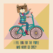 Hipster poster with nerd bear riding bike — Stock Vector