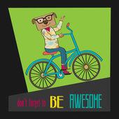 Hipster poster with nerd dog riding bike — 图库矢量图片