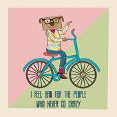 Hipster poster met nerd hond rijden fiets — Stockvector