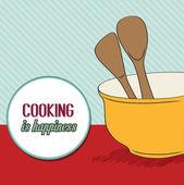 Background with kitchen cooking wooden utensils storage pot — Stock Vector