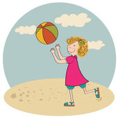 girl playing ball on the beach — Stock Vector