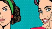Two pop art girlfriends talking, comic art illustration — Stock Vector