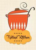 "Gotowania patelni z komunikatem ""naturalnym kuchni"" — Wektor stockowy"