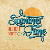 "Calligraphic  Writing ""Summer time - beach party"" — Stok Vektör"