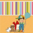 Birthday greeting card with little boy and presents — Stock Photo #7885165