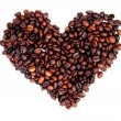 Heart from the coffe beans — Stock Photo