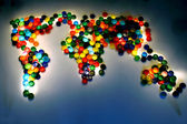 World map from the plastic caps — Stock Photo