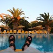 Relax in the Greece by the pool — Stock Photo