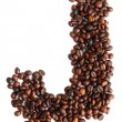 Stock Photo: J - alphabet from coffee beans