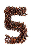 5 - number from coffee beans — Stock Photo