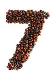 7 - number from coffee beans — Stock Photo