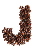 J - alphabet from coffee beans — Stock Photo