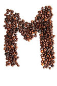 M - alphabet from coffee beans — Stock Photo