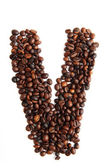 V - alphabet from coffee beans — Stock Photo