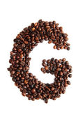 G - alphabet from coffee beans — Stock Photo