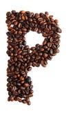 P - alphabet from coffee beans — Stock Photo