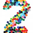 2 - number from the plastic caps — Stock Photo