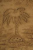 Palm tekening in het zand — Stockfoto