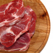 Raw meat steak on the wooden board - Stock Photo