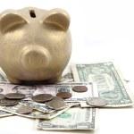 Gold pig bank and dollars — Stock Photo #24267327