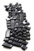 Chaos black keyboard keys — Stock Photo