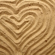 Yellow sand texture (heart) — Stock Photo