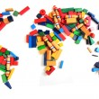 World map from wooden color bricks — Stock Photo #41152829