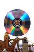 Old telegraph with CD or DVD — Stock Photo