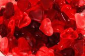 Red jelly candy hearts — Stock Photo